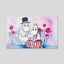Moomin Family - Acrylic by Vivian Z