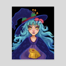 Mushroom Witch - Canvas by Wendy Roberts