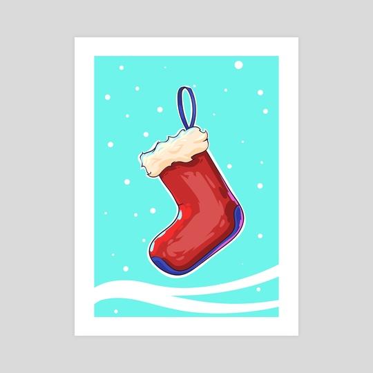 Christmas Stocking.Comic  illustration. by Viktor Nikonenko