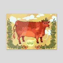 Strawberry cow!  - Acrylic by Ashlyn Rudolph