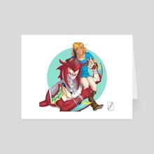 Sidon and Link - Art Card by K Jones