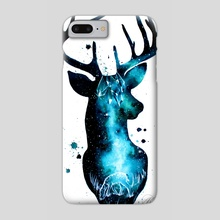 Milky Way Deer Silhouette with Crystals - Phone Case by Addison Kanoelani