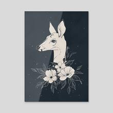 Dark Moon Deer - Acrylic by Angeline Balayn