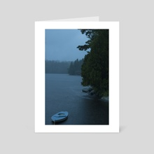 Blue Boat on Ahmic Lake in the Rain  - Art Card by Louis Rouse
