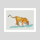 Thirsty Tiger - Art Print by Min Morris