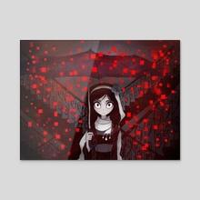 Crimson pixel snow - Acrylic by Cotton Valent