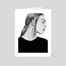 Woman with earring fashion, Aesthetic Cute Girl Portrait - Art Card by Tantowi Gilang