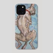 Dog On (Our) Blue Elephant Pillow - Phone Case by Reiko Murakami