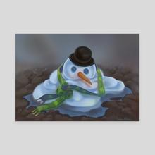 Snowman - Canvas by Delia Mihai