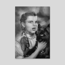 Dorothy and Toto_Black and White - Acrylic by Rafael Rivera