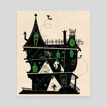 Haunted House Green - Canvas by Kirsten Shiel