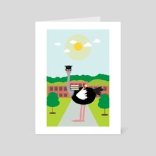 An educated ostrich - Art Card by Michal Eyal