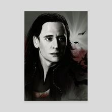 Loki - Raven King - Canvas by Elena Vitkovskaya