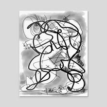 Line Art, Black White Art, Drawing, Modern Wall Art Print, Abstract Line Art - Acrylic by Regia Marinho