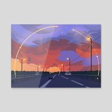 Cat on the road - Acrylic by Arina Mochalova