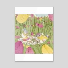 Picnic among the tulips - Vertical - Acrylic by Martina Brancato