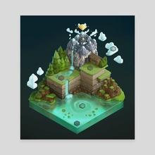 Isometric Board Game World (dark background) - Canvas by Naomi Robinson