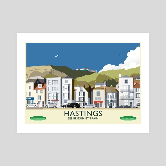 Hastings Vintage 50's Style railway poster by MIKE TURTON