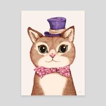 Cat in the purple hat - Canvas by Greg Abbott