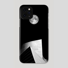 Concert Hall Los Angeles with Moon Black and White Photography - Phone Case by Thorsten Schmitt