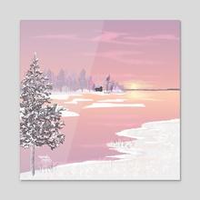 A purple sun - Acrylic by Aurealis Creatief