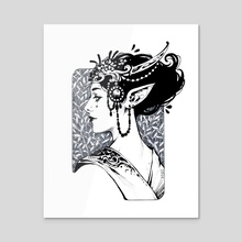 Ink Elven Maiden - Acrylic by Maria Dimova