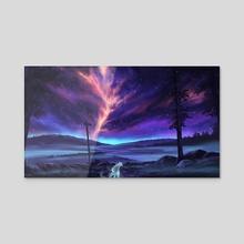 Night Fox Spirit - Acrylic by Sam Lee