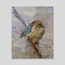 Blue Bird - Acrylic by Mostafa Keyhani