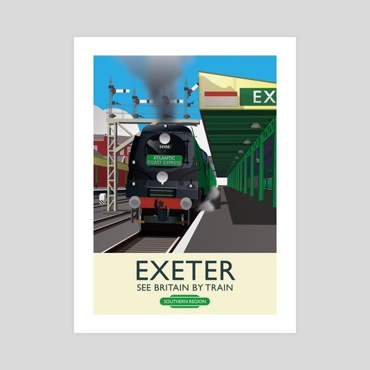 Exeter, Devon. Vintage 50's style railway poster by MIKE TURTON