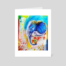 Beautiful and colorful painting of mom elephant with her cub - Art Card by Sukhendu Mondal