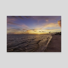 Sunset On Fort Myers Beach - Canvas by John Mantell