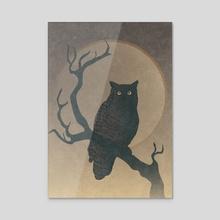 Owl Night (v2) - Acrylic by StrangeFrontierArt