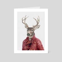 Deer In Red Leather - Art Card by Animal Crew