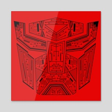 Autobot Tech Black and Red - Acrylic by Genevieve Blais