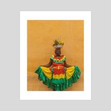 Fruit lady Colombia - Acrylic by Solmaz Saberi
