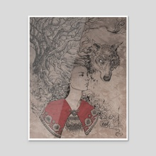 The Wolf Lies - Acrylic by Ashley Stewart