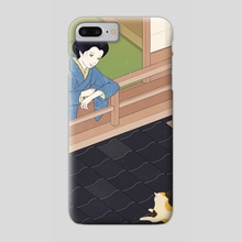 Cat on the tiled roof - Phone Case by Sai Tamiya