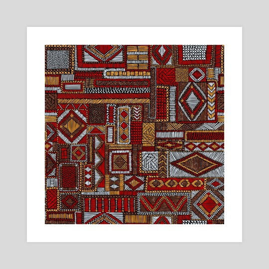 Seamless pattern in patchwork style. Embroidered Ethnic and tribal motifs. Handwork. vintage illustration. by Julien LIEM