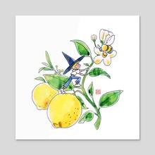 Tiny Lemon Witch - Acrylic by Ranran