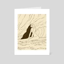 Surfer Girl Calm // Naked Sketch - Art Card by Sam Sum