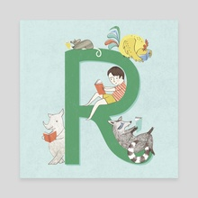 R is for Reading - Canvas by Angela Keoghan