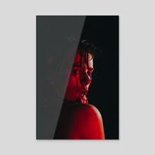 sexy girl in red light - Acrylic by Kseniya Lokotko
