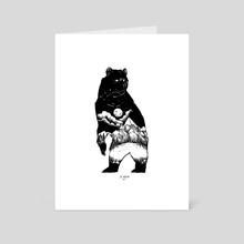 Black Bear in Moonlight - Art Card by JD Unruh
