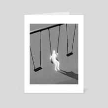 Swinging on a Swing - Art Card by Kenny Flaten