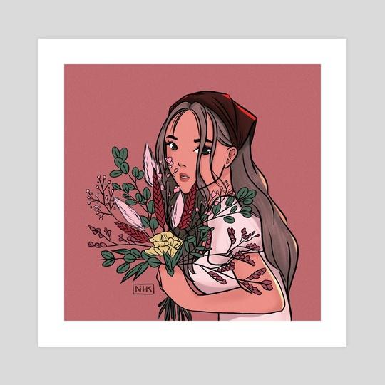 pink flower girl by ikonihk