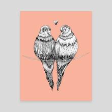 Peachy Love Birds - Canvas by Bridgette McGee