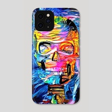 Skull surrounded by magic lights - Phone Case by Bruce Rolff