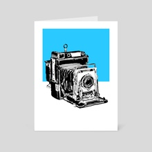 Vintage Graphex Camera in blue - Art Card by Aiden James