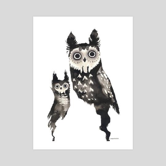 Ink Owls by Myrntai
