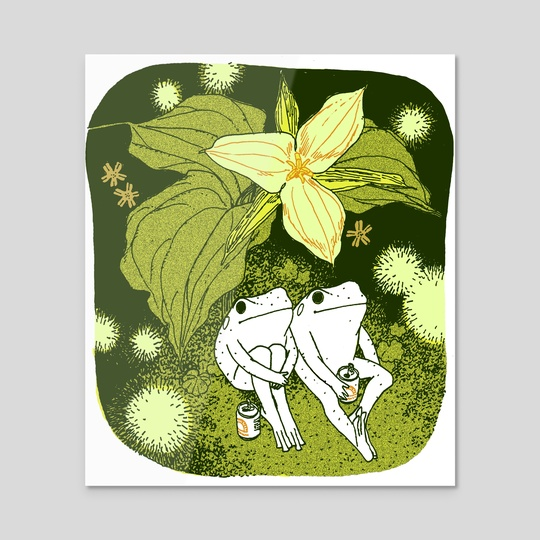 Trillium frogs with soda and fireflies  by Linnea Sterte
